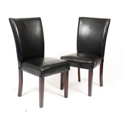 Black Parsons Chair All Purpose Salon Chairs Roundhill Leatherette With Cherry Finish Wood Legs Set Of