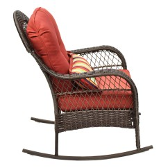 Rattan Wicker Rocking Chair Cushion Purple Dinning Chairs Goplus 38 H Porch With Sears Marketplace 2