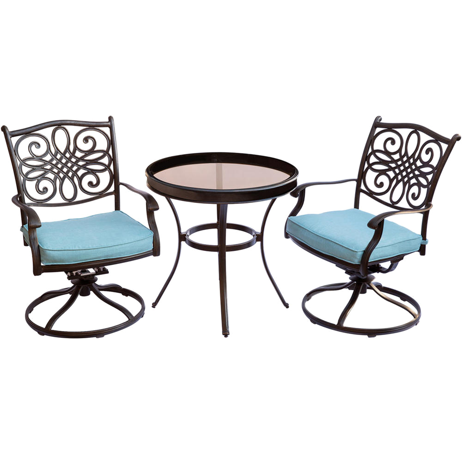 bistro set with swivel chairs cleo pedicure chair parts hanover traditions 3pc w cushions sears