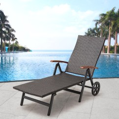 Beach Chair With Wheels Parsons Chairs Covers Folding Goplus Recliner Adjustable Lounge Patio Deck Brown Rattan