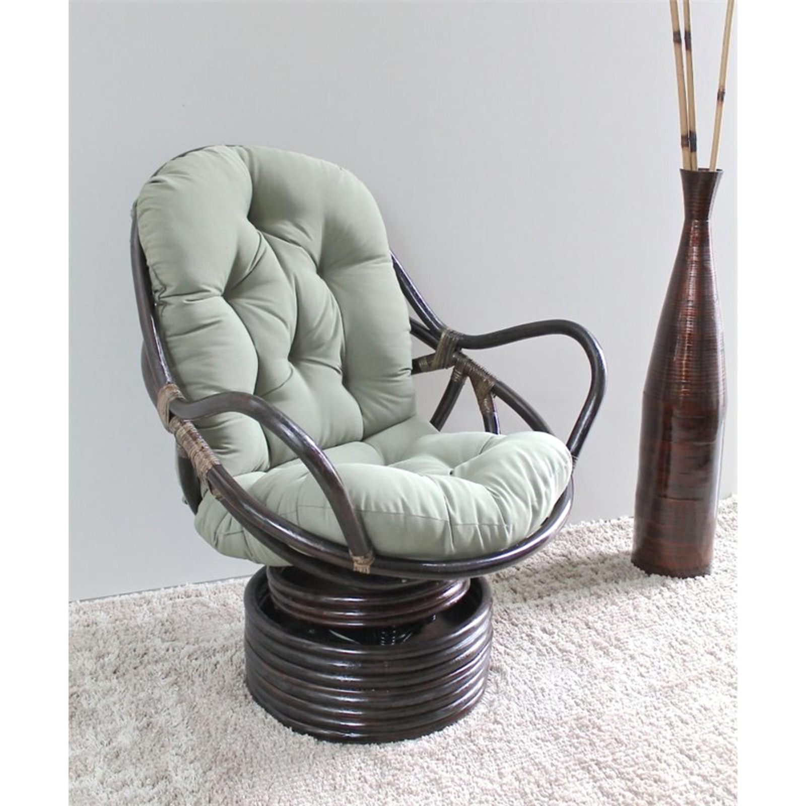 swivel chair exercise toddler round wooden table and chairs international caravan bali rattan rocker sears