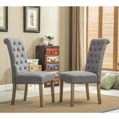 Gray Dining Chair Fishing Nz Chairs On Sale Sears Roundhill Furniture Habit Grey Solid Wood Tufted Parsons Set Of 2