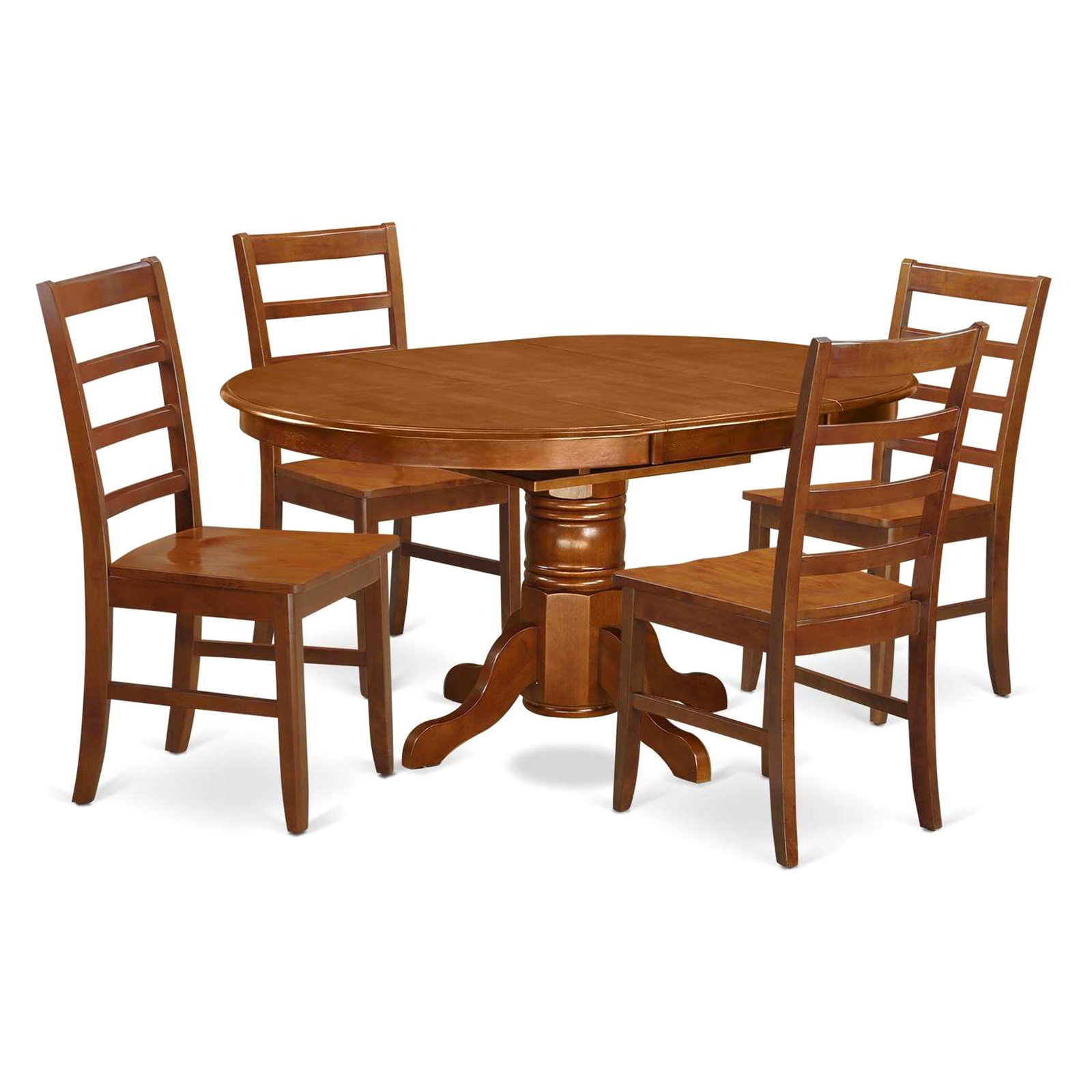 rubberwood butterfly table with 4 chairs dining room chair covers at target east west furniture 5pc rubber wood set sears marketplace saddle brown