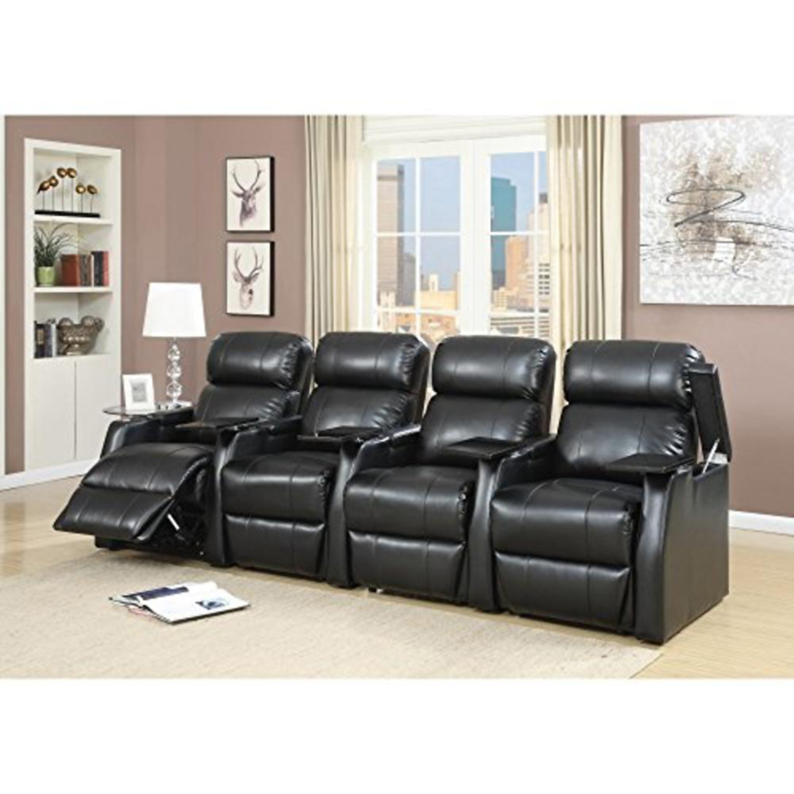 sears recliner chairs acrylic arm chair living room get comfortable at elements international cecille 4 piece home theater power set