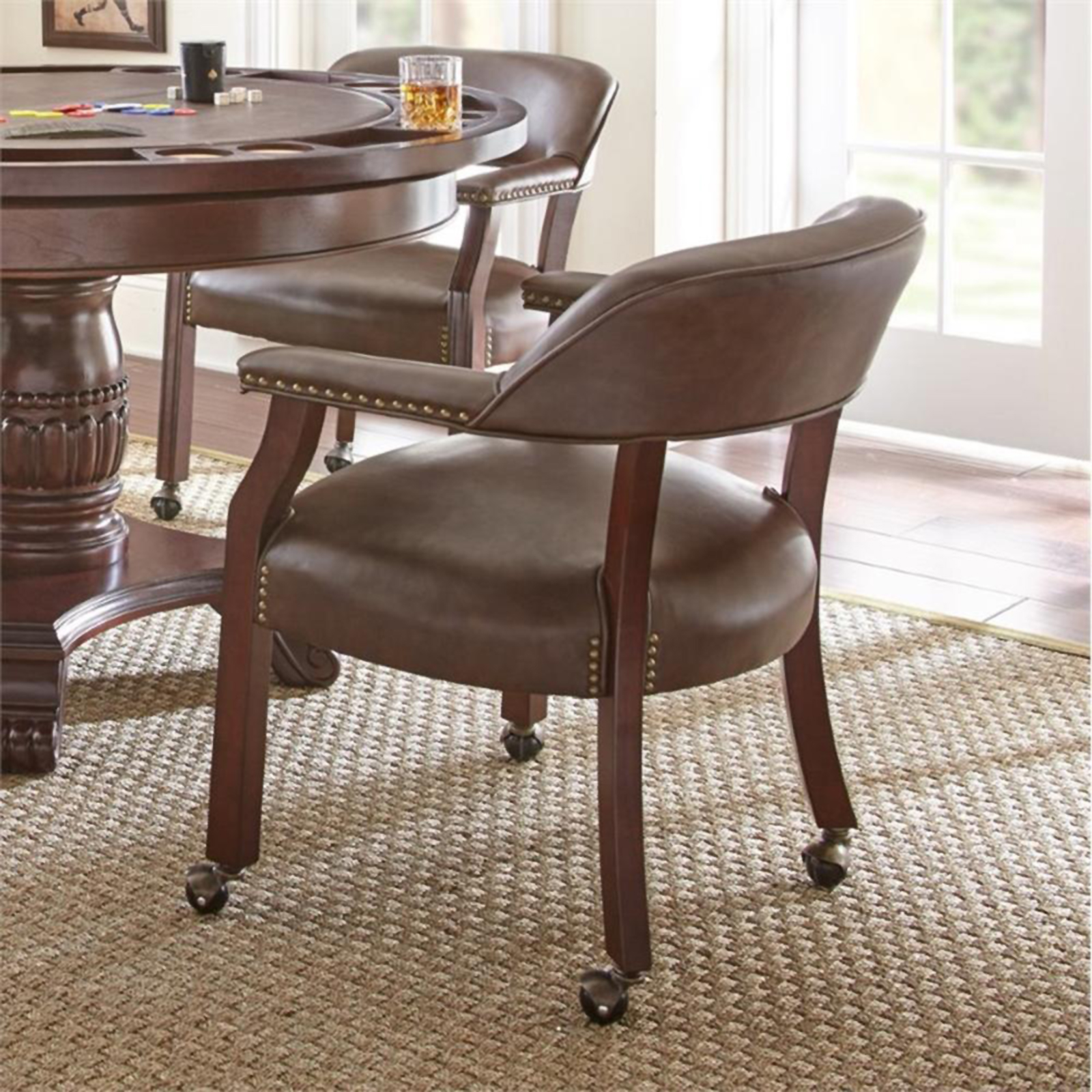 kitchen chairs aeron chair care and maintenance manual dining sears steve silver company tournament captains with casters brown