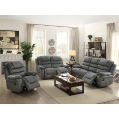 Grey Living Room Furniture Set Interior Decorating For Small Rooms Sets Collections Sears Esofastore Reclining 3pc Motion Sofa Slate Leatherette Plush Loveseat Recliner Pillow Top Armrest