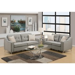 Grey Living Room Set Orange Curtains For Sets Collections Sears Esofastore Modern 2pcs Sofa Loveseat Casual Light Polyfiber Furniture Tufted Cushion