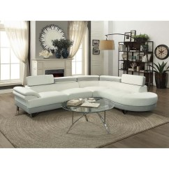 Chaise In Living Room Tv Cabinet Designs For Sets Collections Sears Esofastore Furniture Classic White Faux Leather 2pcs Sectional Sofa Adjustable Headrest Pine Wood