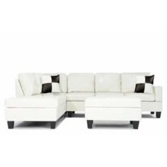 White Bonded Leather Sectional Sofa Set With Light Ciri Bed Inoac Asli Couches Sears Sofamania Divano Roma Furniture Reversible Pu 3 Piece