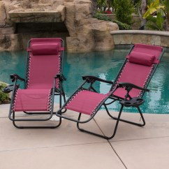 Zero Gravity Chair 2 Pack Aeron Sizes 014 Hg 14076 Belleze Patio Lounge Chairs Cup Holder Utility Tray Burgundy