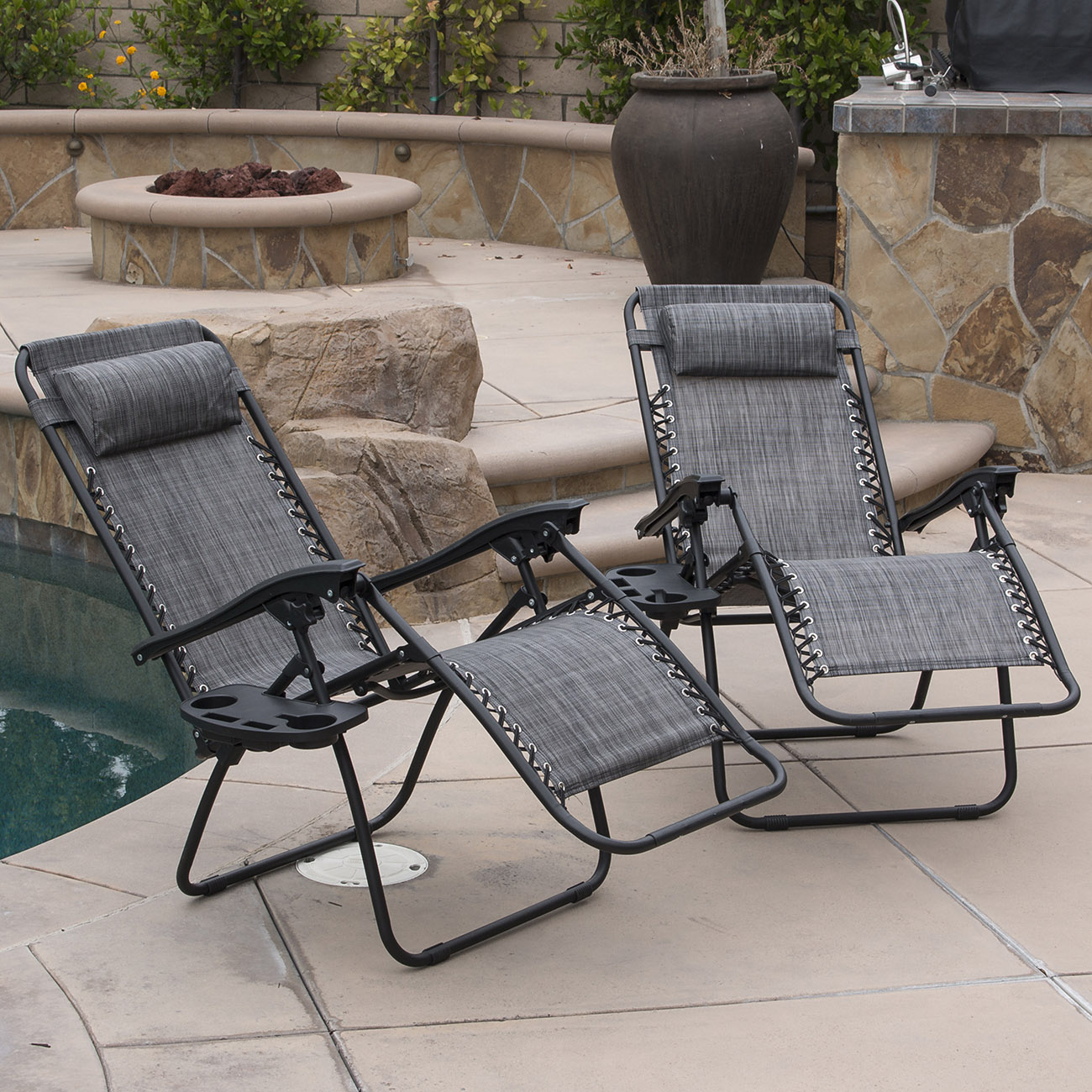 zero gravity chair 2 pack windsor seat cushions a 014 hg 14078 belleze patio lounge chairs cup holder utility tray gray
