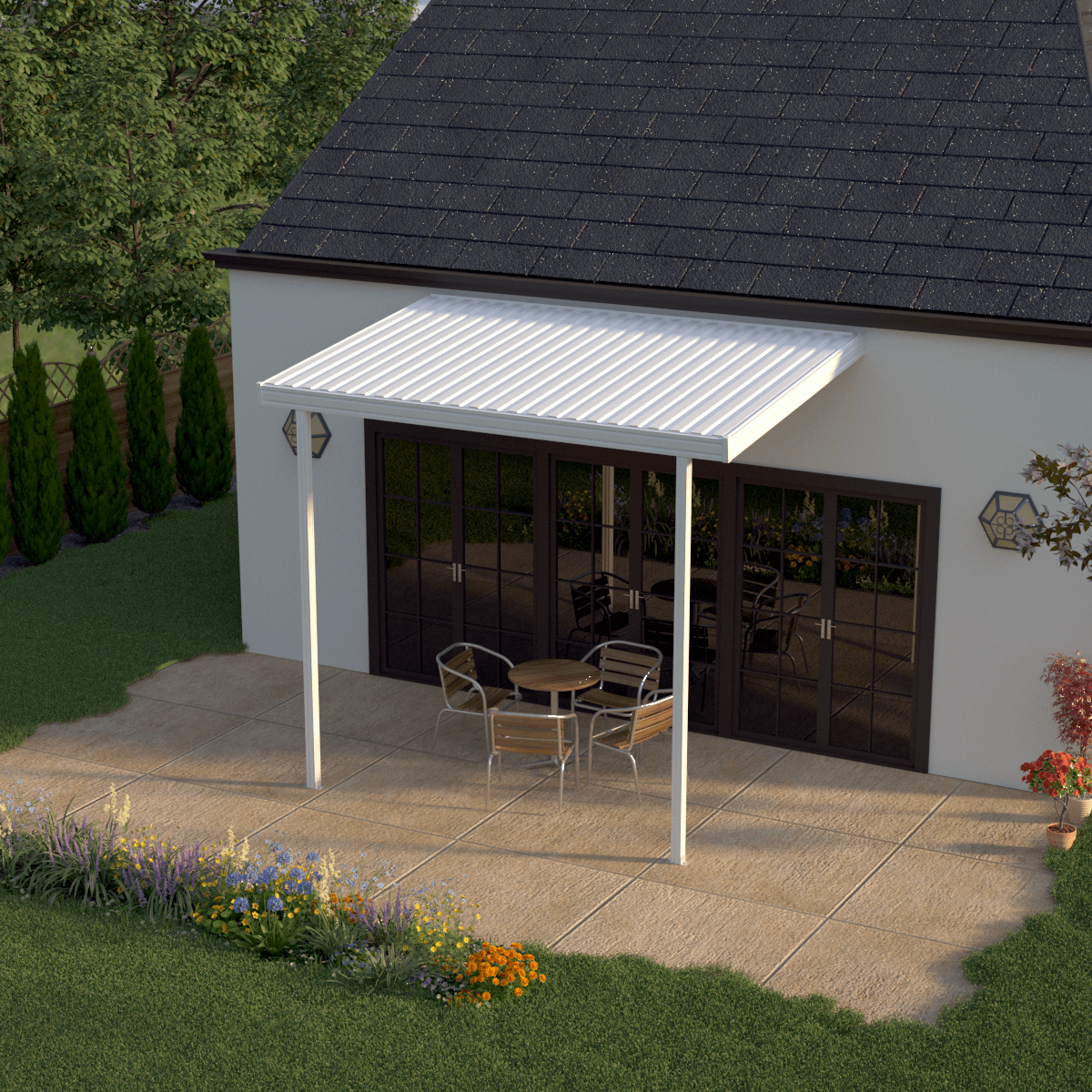 Heritage Patios 12 Ft. X 8 White Aluminum Attached