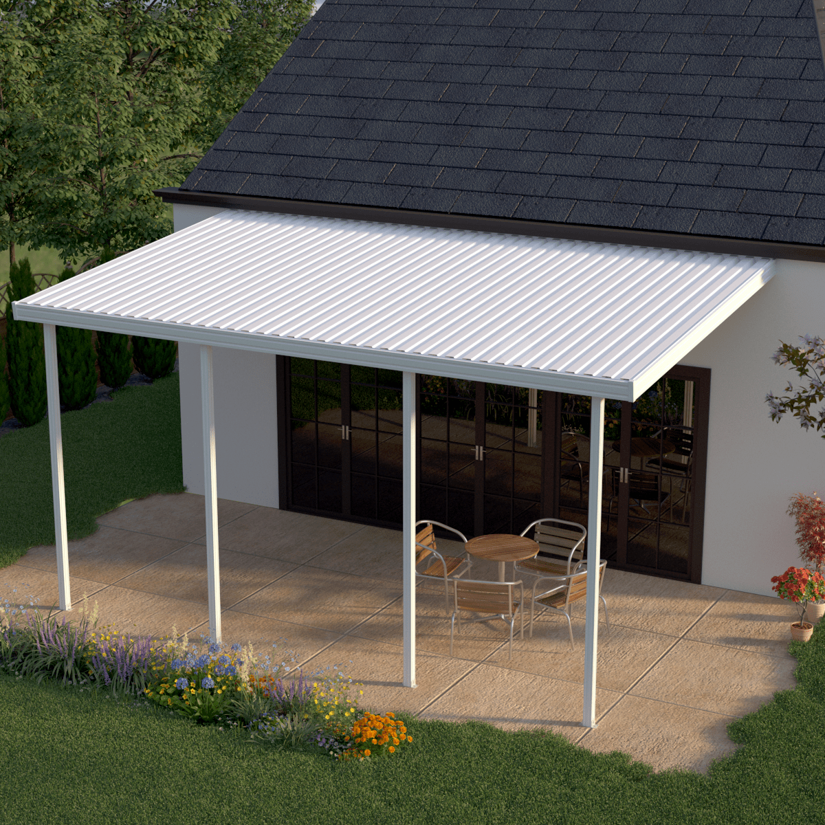 Heritage Patios 16 Ft X 9 Ft White Aluminum Attached