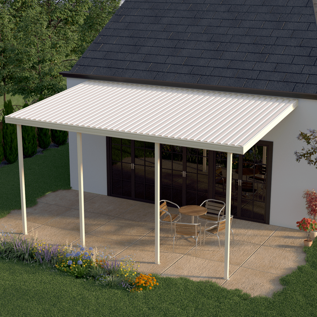 Heritage Patios 18' X 10' Attached Aluminum Awning - Tan