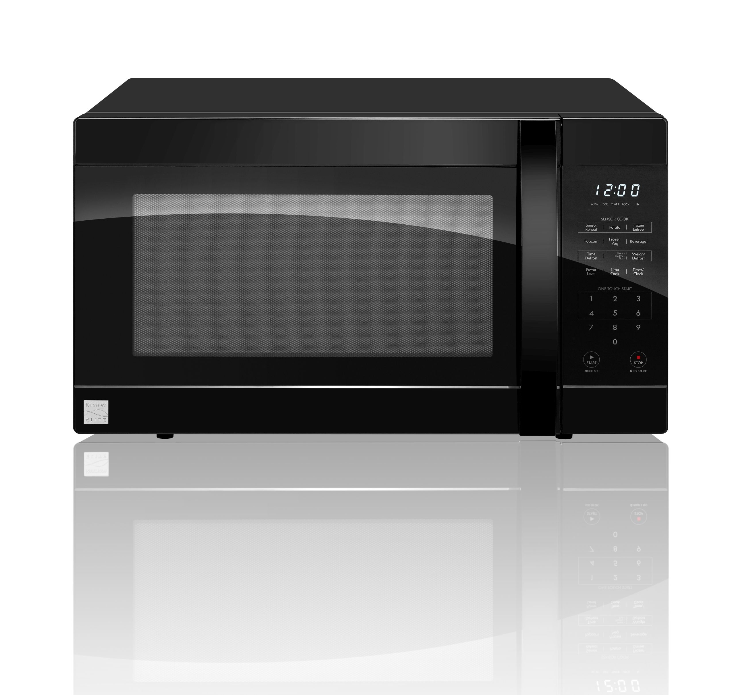 kenmore elite 72219 2 2 cu ft countertop microwave oven black