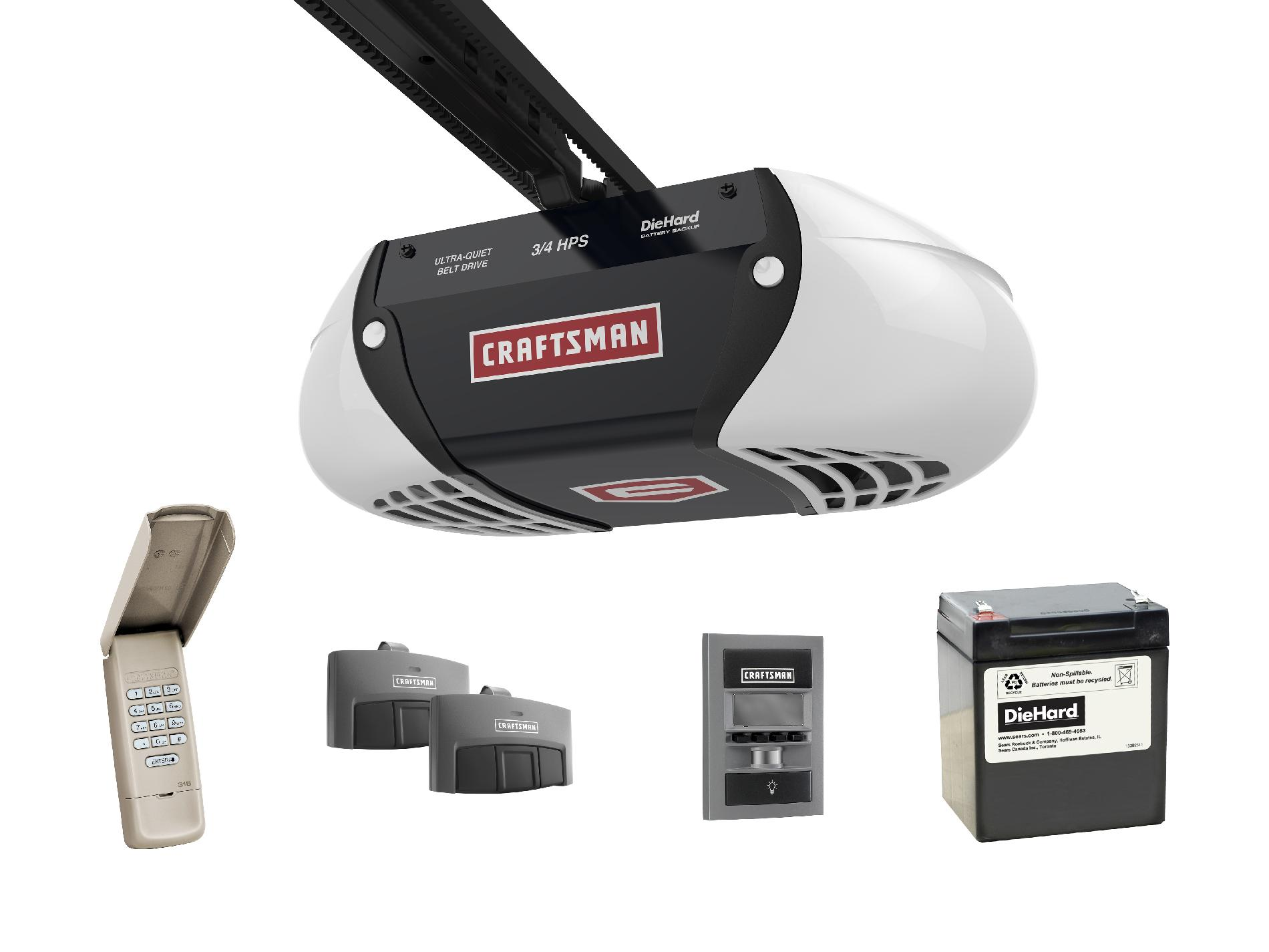 Craftsman 54918 34 Horsepower DieHard Battery Backup UltraQuiet Belt Drive Garage Door Opener