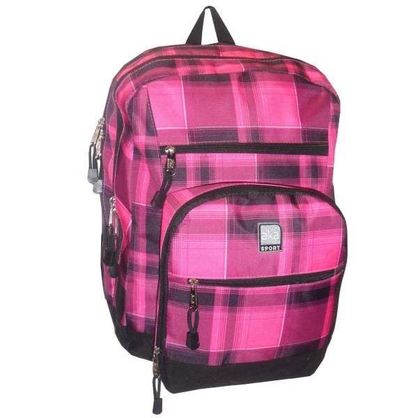 Aka Plaid With Suede Bottom Backpack - Pink