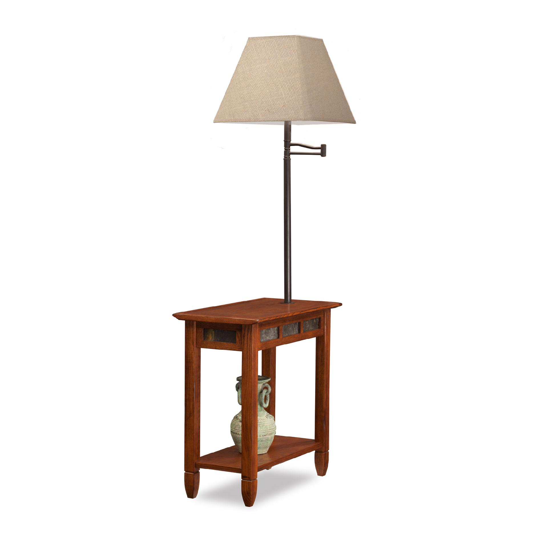 Leick Rustic Slate Chairside Lamp End Table