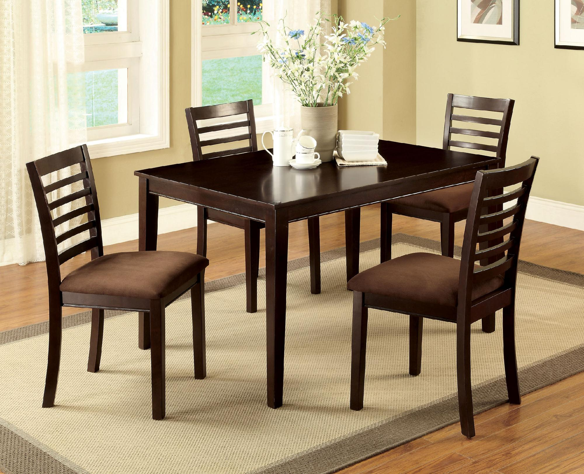 5 piece kitchen table set hell games furniture of america larkans espresso dining