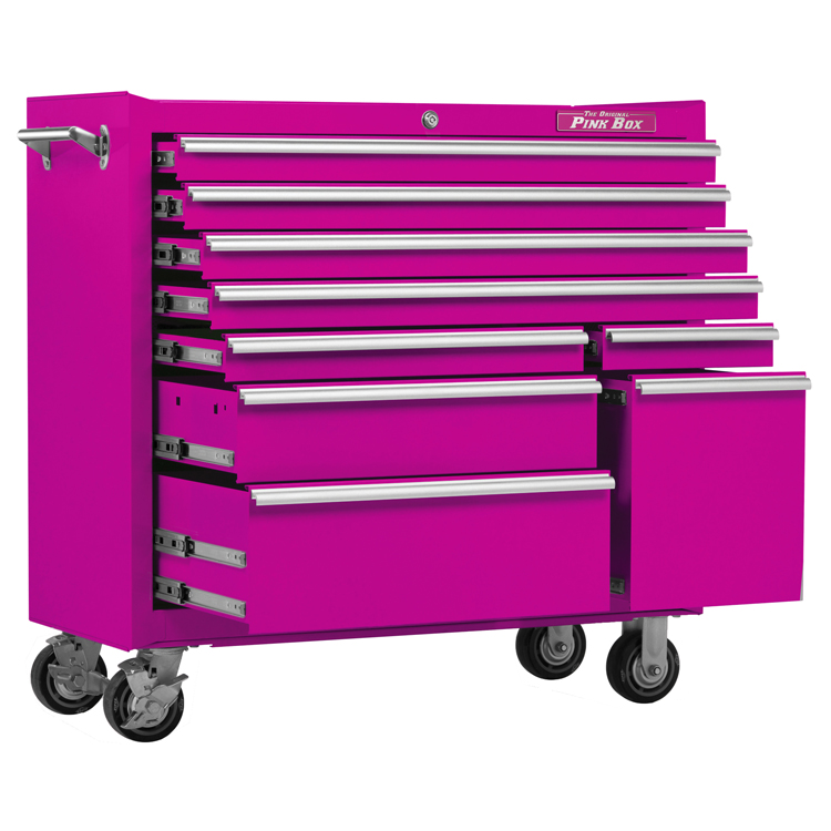 The Original Pink Box 41inch 9 Drawer 18G Steel Rolling