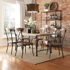 Rustic Wood Kitchen Table And Chairs Staples Chair Mats Hardwood Floors Oxford Creek Allison 7 Piece Dining Set Home