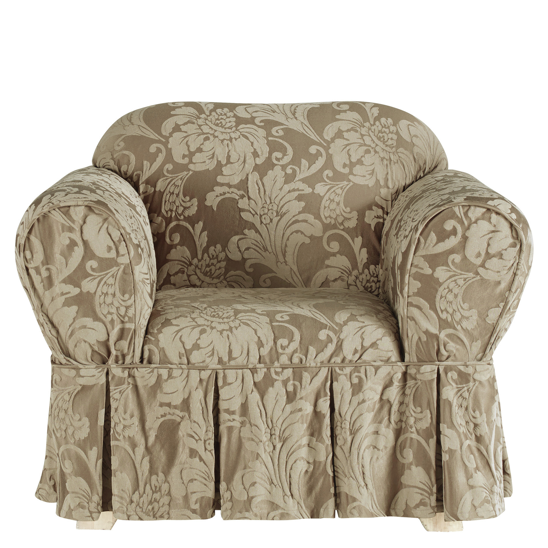 Sure Fit Matelasse Damask Chair Slipcover- Pewter