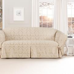 Sure Fit Durham One Piece Sofa Slipcover European Style Leather Sets Middleton Champagne