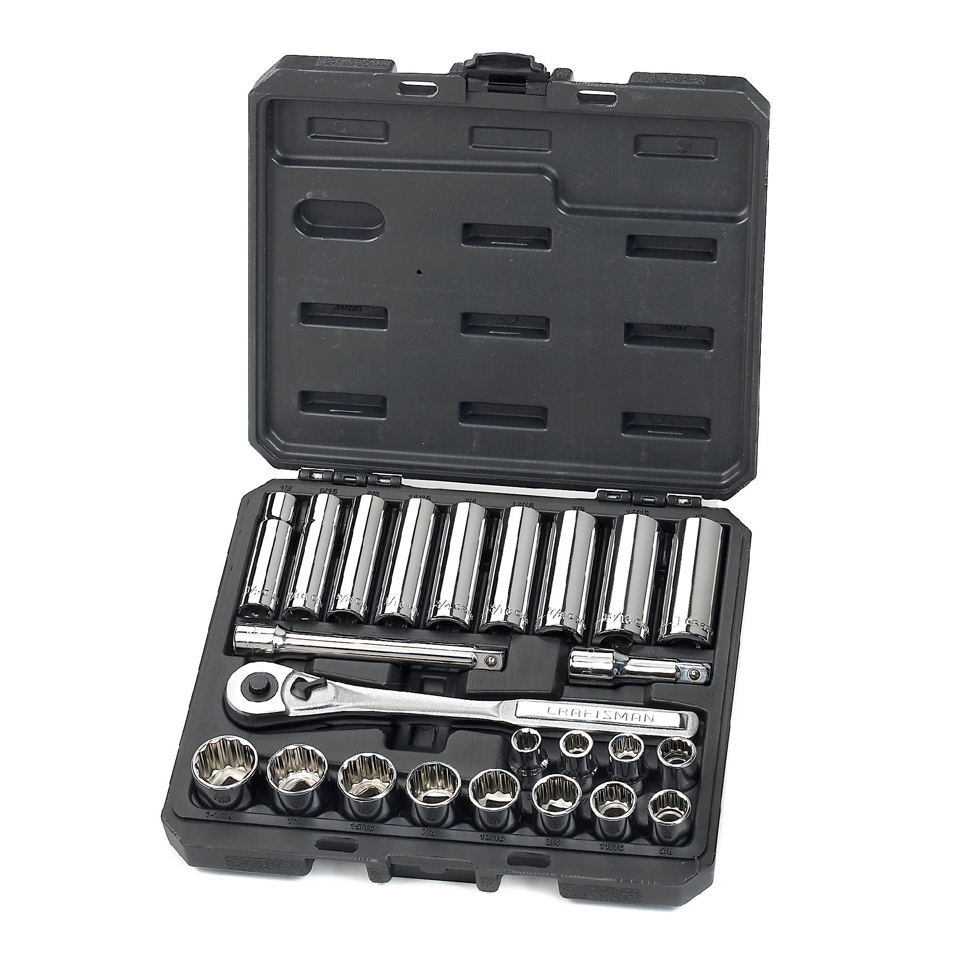 Craftsman - 34898 24 Pc. 1 2 In. Drive Socket Wrench Set With 84 Tooth Ratchet Sears Outlet