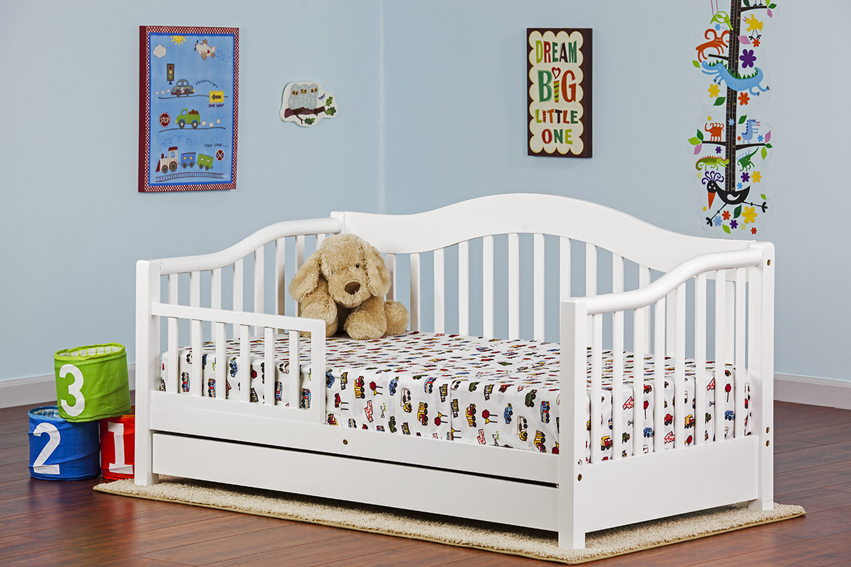 Dream On Me Toddler Day Bed With Storage Drawer White