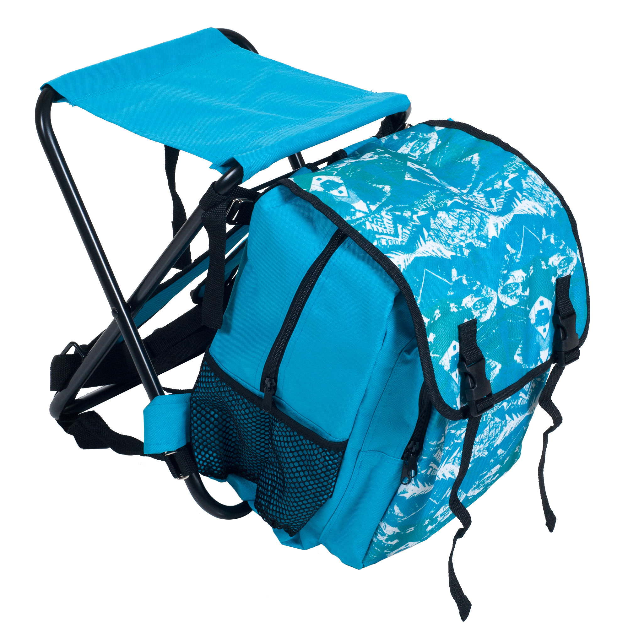 folding chair backpack co chairs circle stalwart stool and combo blue