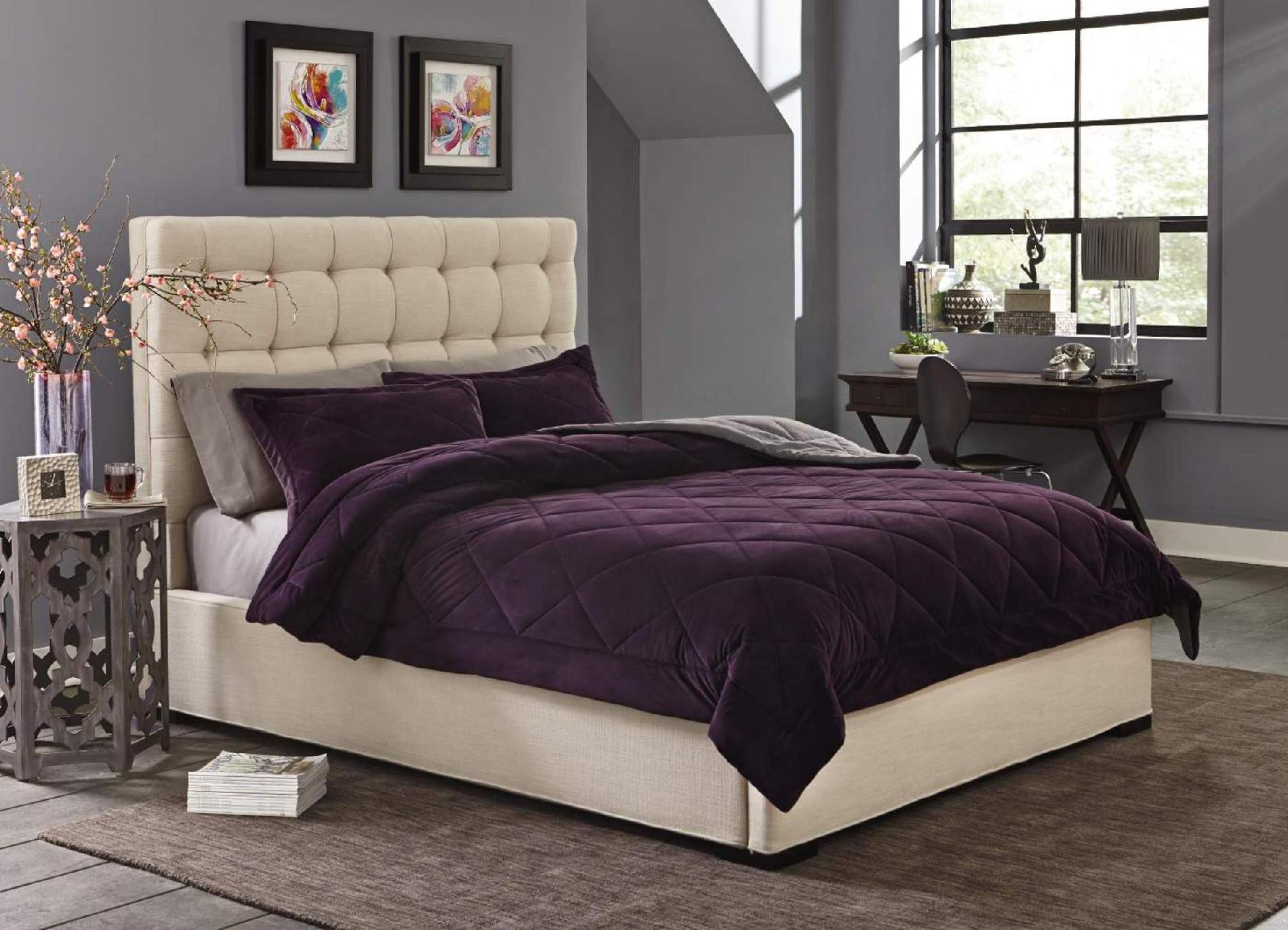 Cannon Silky Velvet Comforter Set Purple - Home Bed