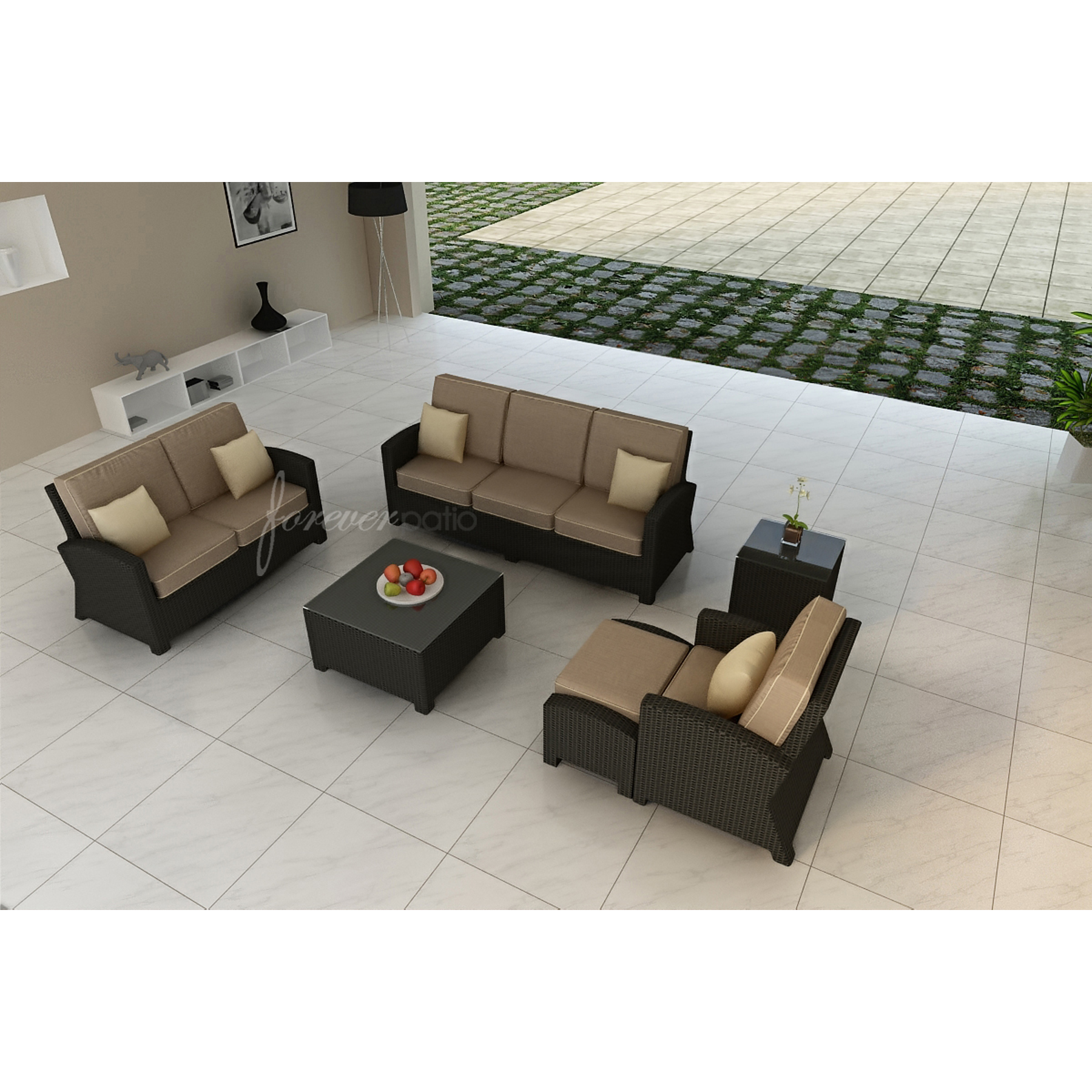 sunbrella fabric sectional sofas sofa sets online vijayawada forever patio barbados 6pc set featuring