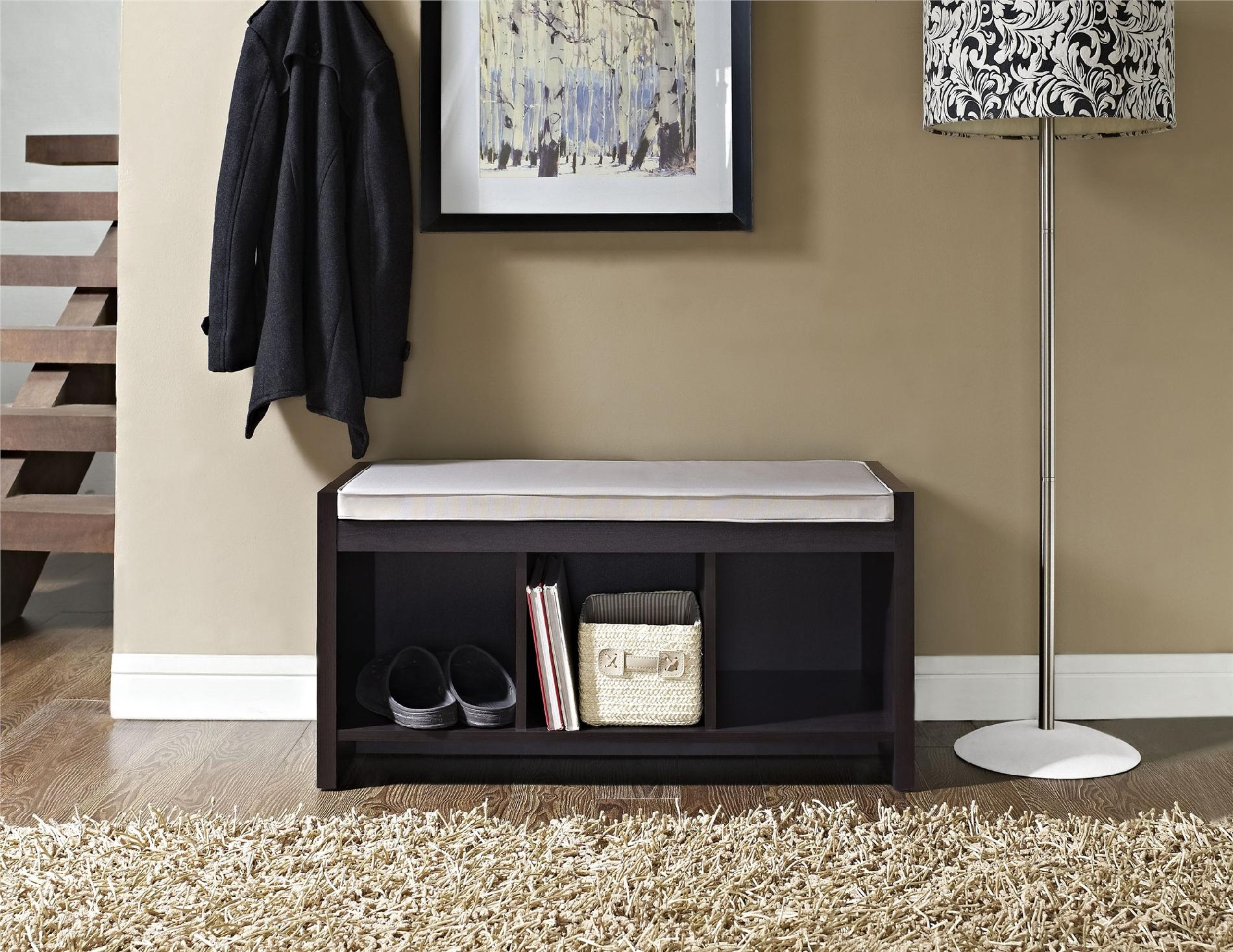 Dorel Penelope Espresso Entryway Storage Bench with Cushion