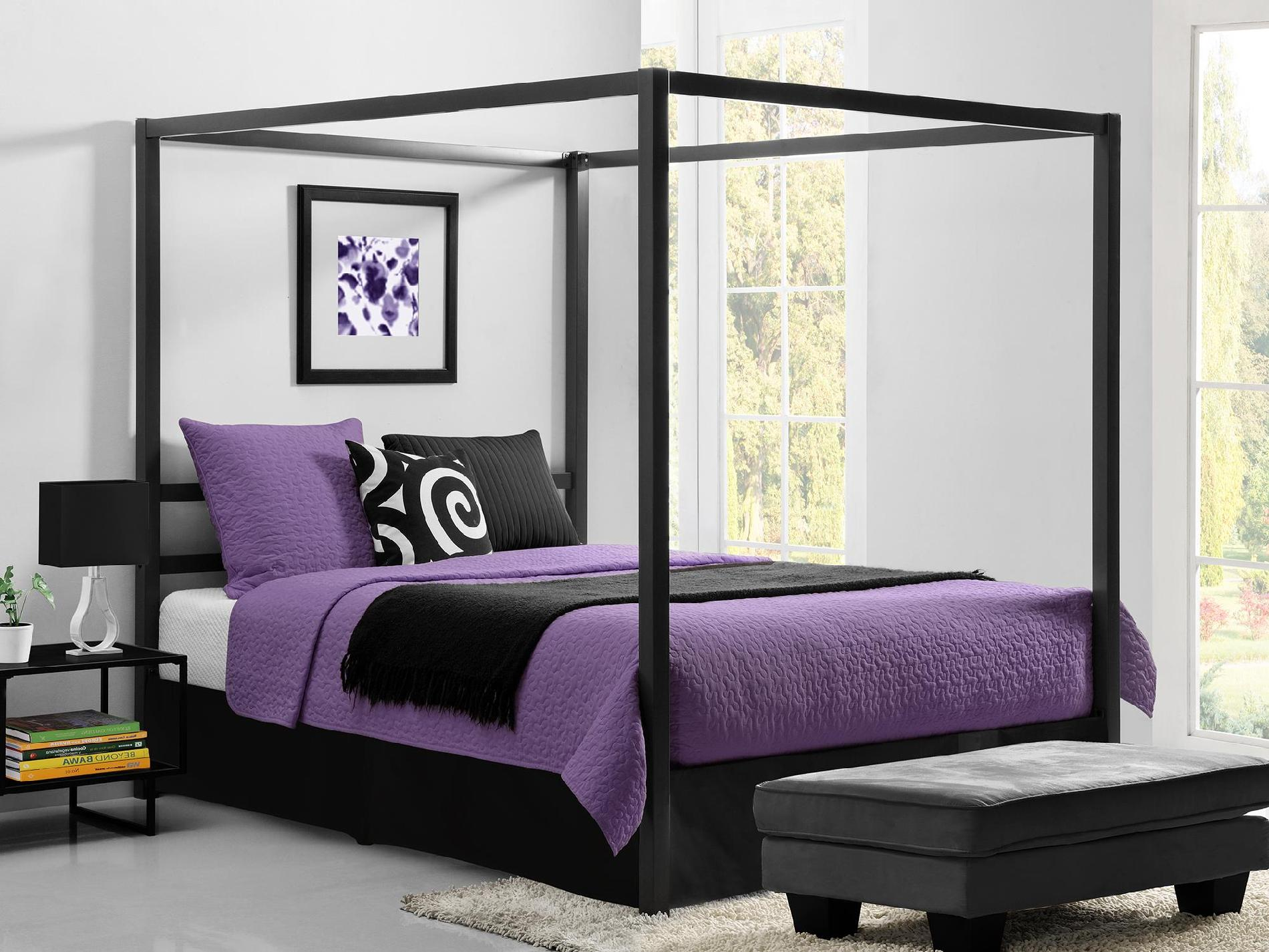 If you buy from a link, we may earn a com. Dorel Home Furnishings Modern Queen Black Canopy Metal Bed