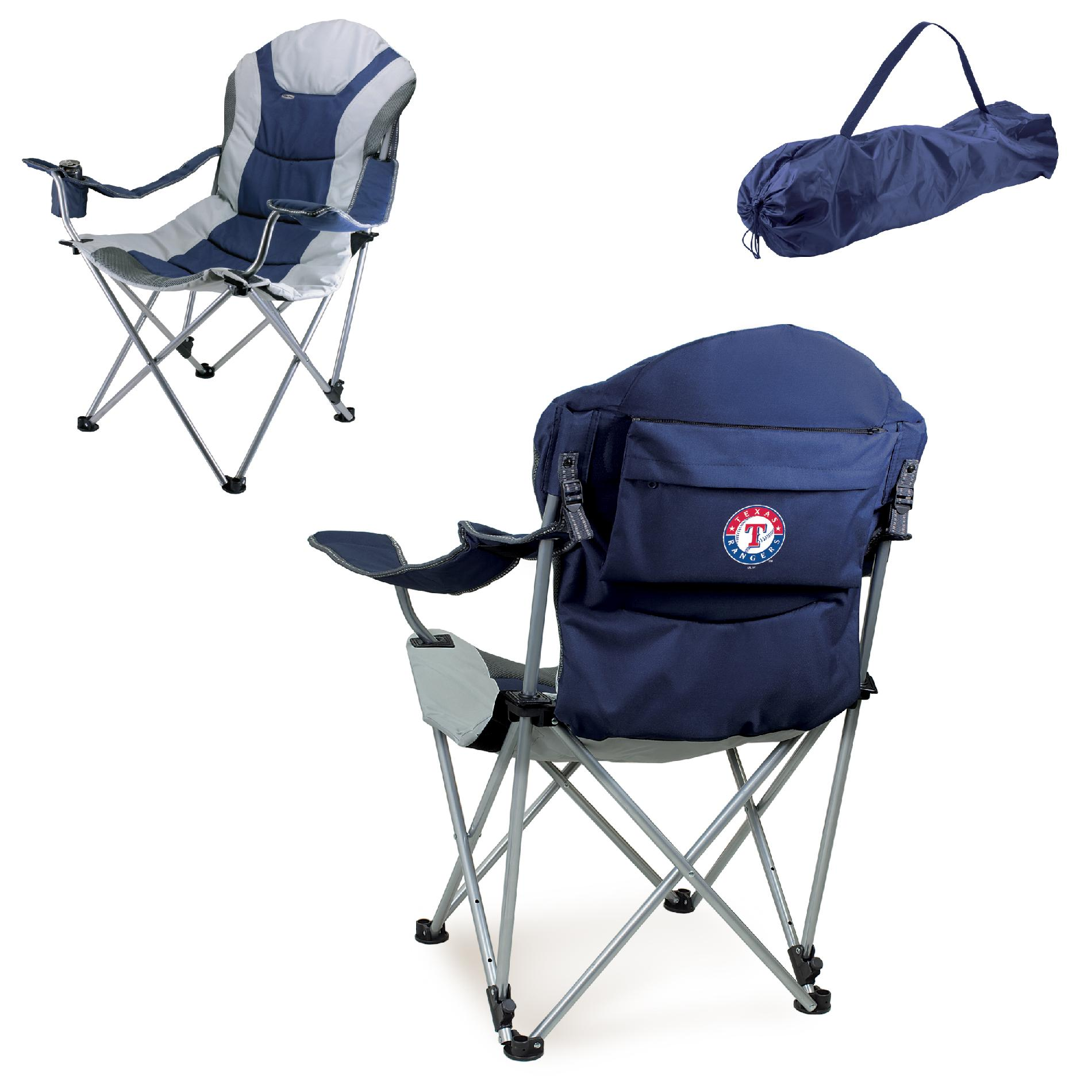 picnic time chair parts angled leg floor protectors reclining camp mlb navy