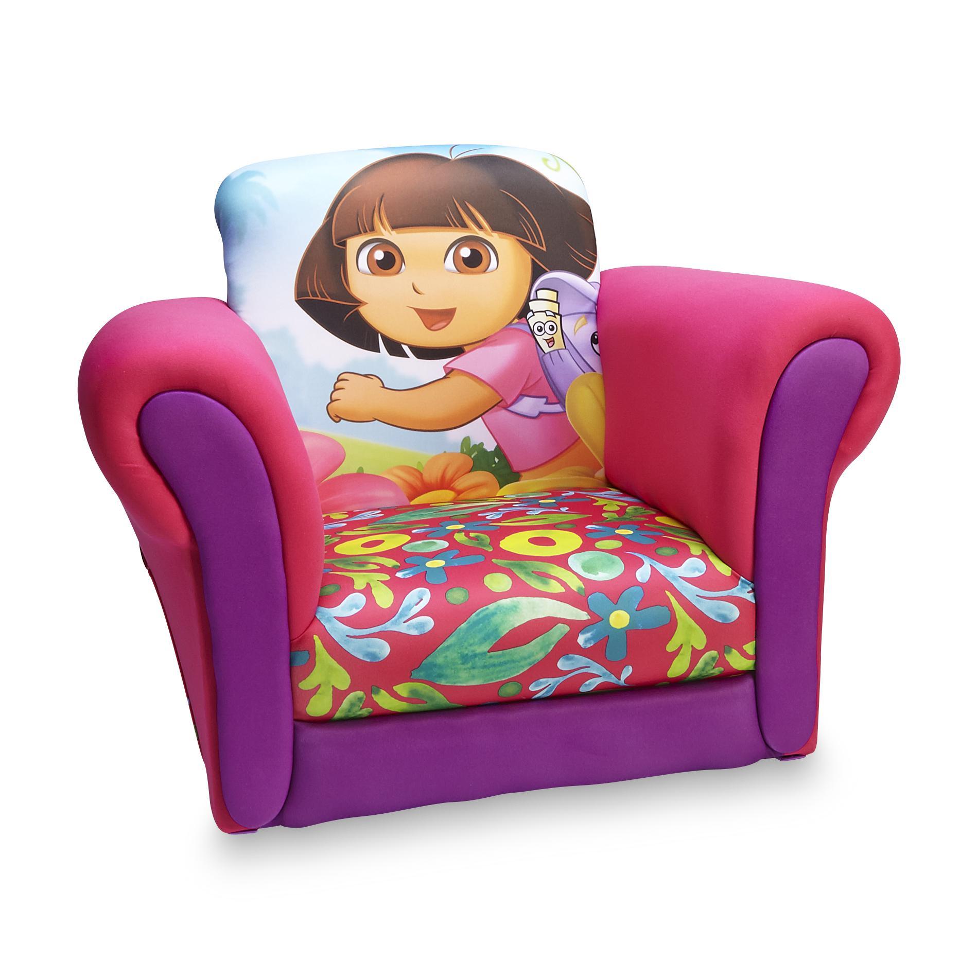 chair for toddler girl bathtub baby nickelodeon dora the explorer s upholstered rocking