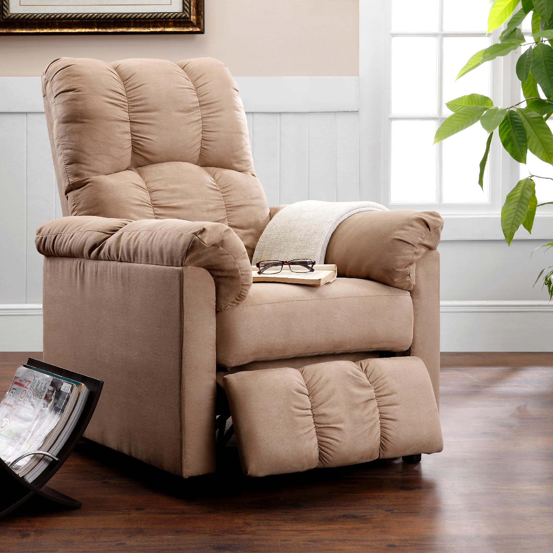 living room chairs for short people tiles dorel home furnishings slim beige microfiber recliner