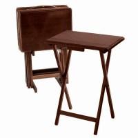 Walnut Folding TV Tray Table Set