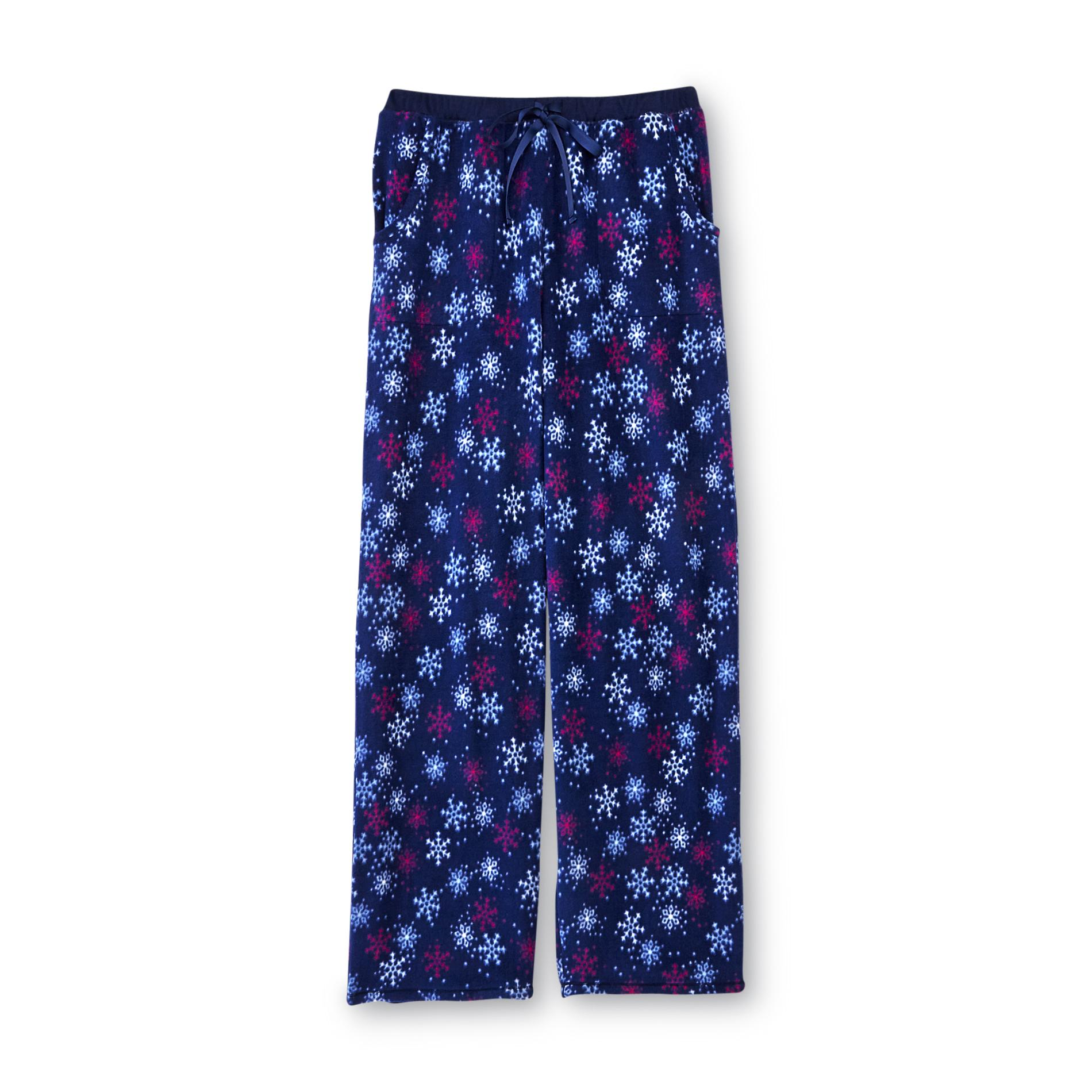 Jaclyn Intimates Women' Super Span Stretch Fleece Pajama Pants - Snowflake