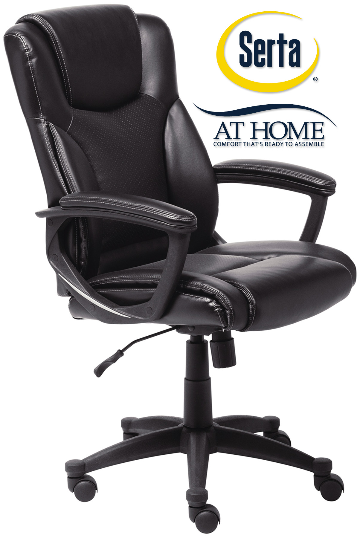 menards office chairs chair attached to table upc 840391205642 serta black supple bonded leather