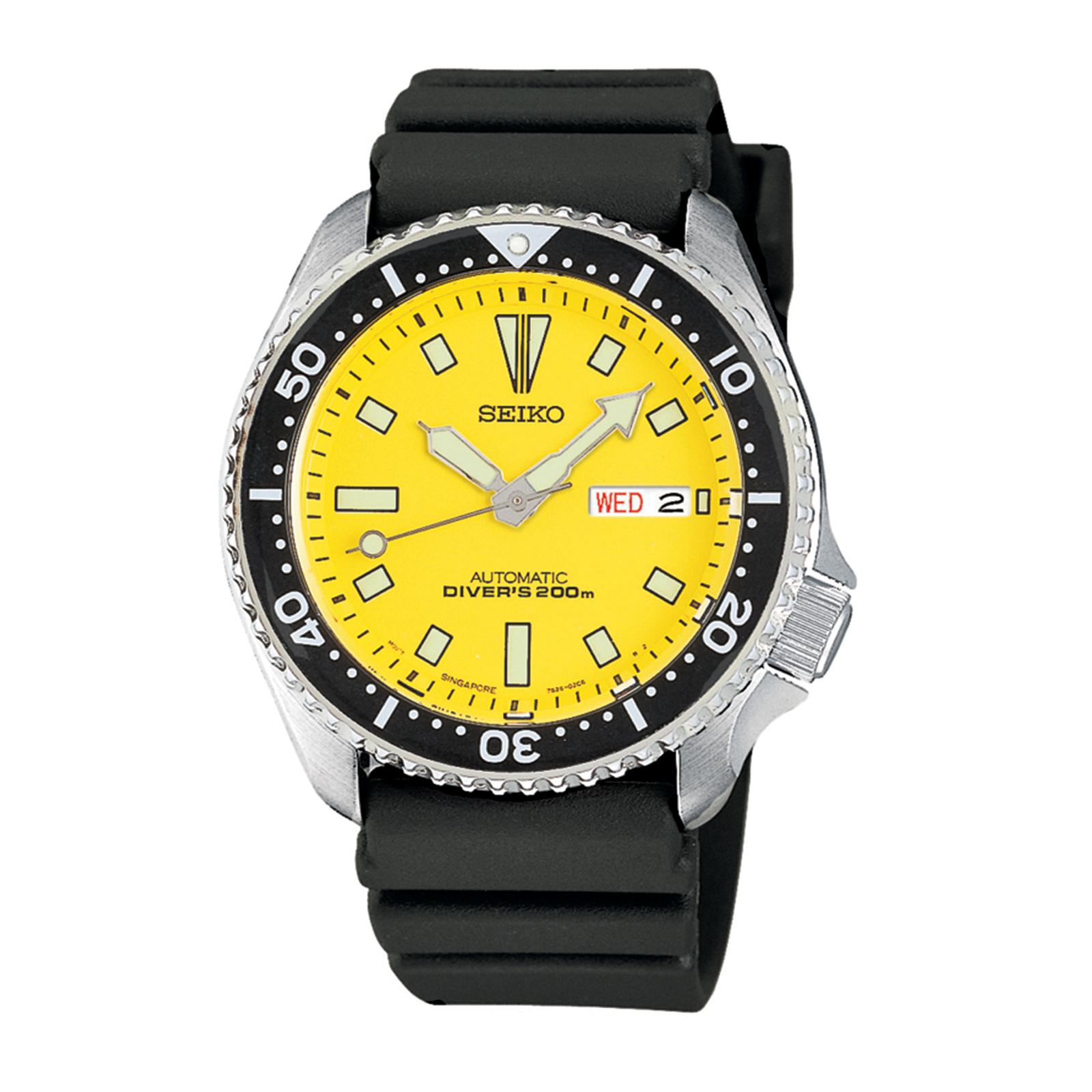 Seiko Mens Yellow Dial Automatic Divers Watch Skxa35
