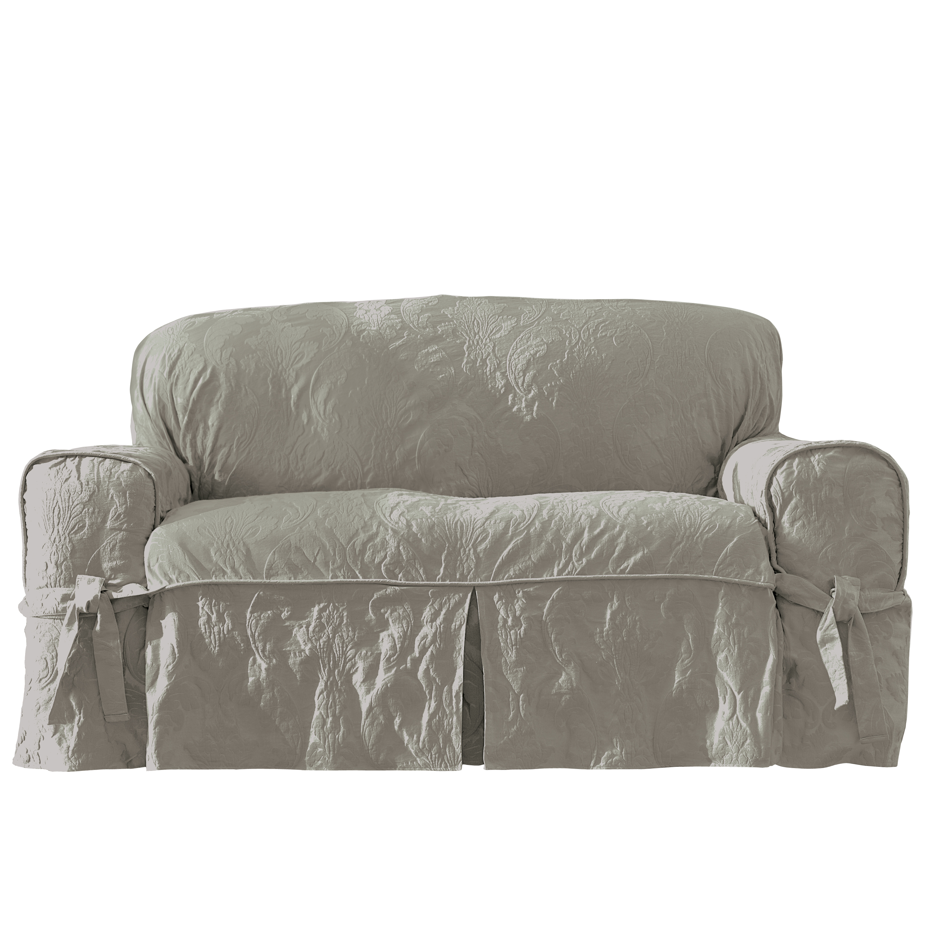 two tone matelasse damask one piece sofa slipcover ergonomic design sure fit 1piece loveseat home
