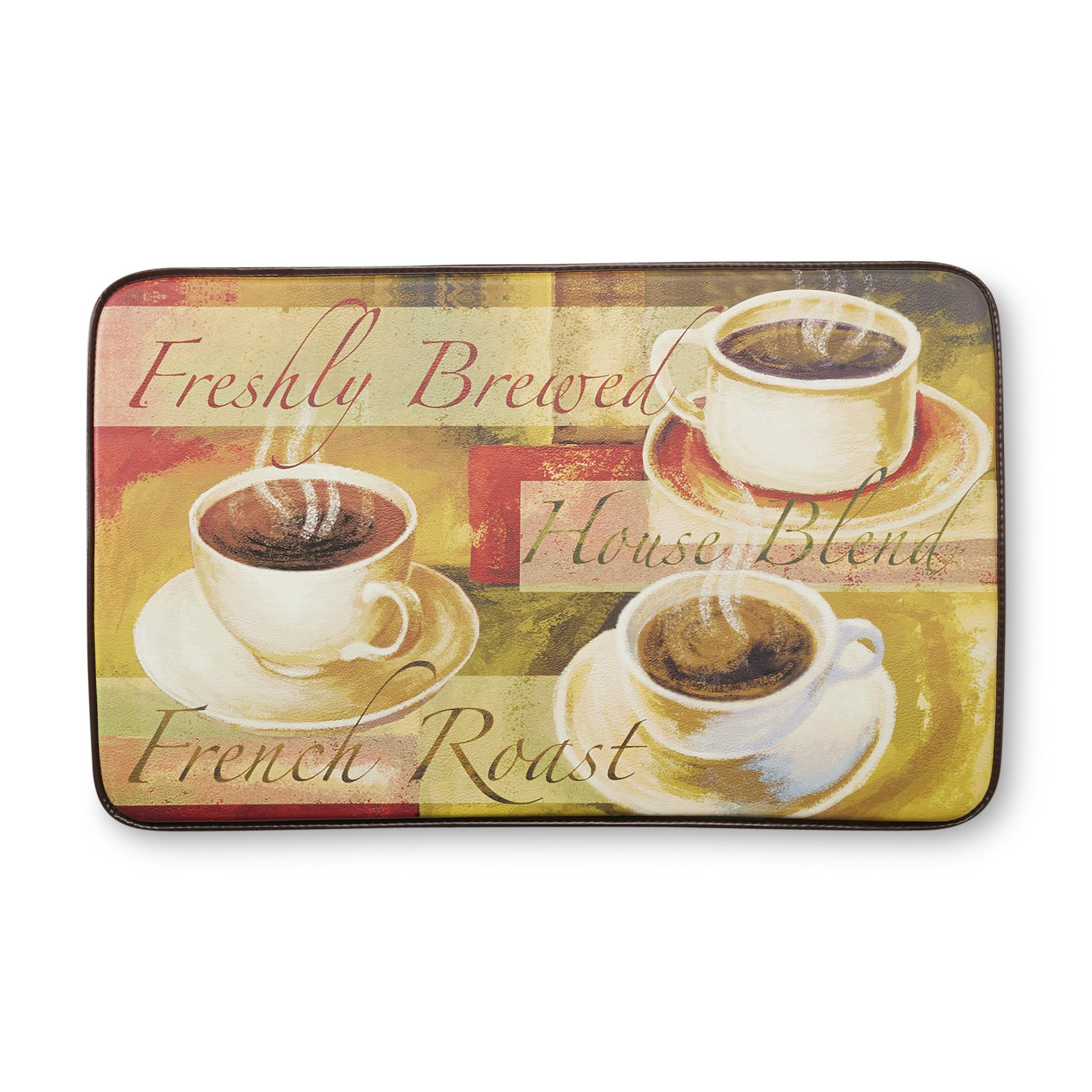 kitchen floor rugs retro furniture kmart chef mats cushioned mat coffee cups