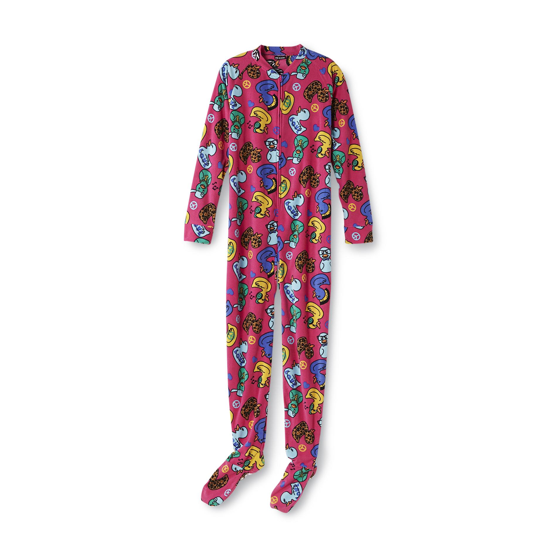 Joe Boxer Women' Fleece Footed Pajamas - Ducks