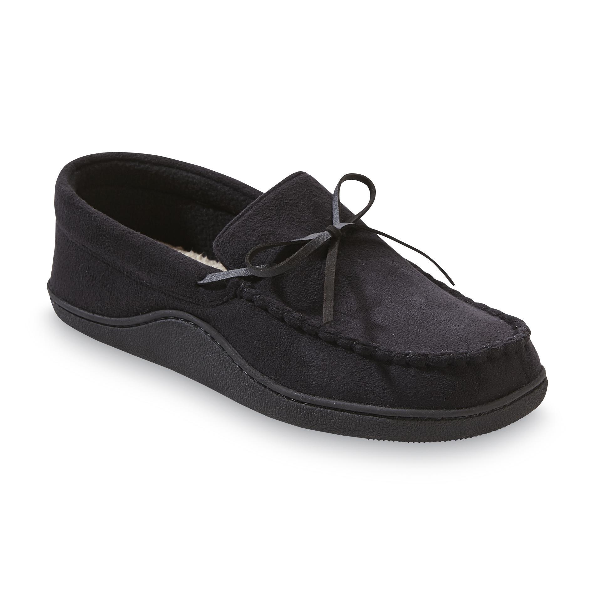 also isotoner men   black moccasin slipper rh sears