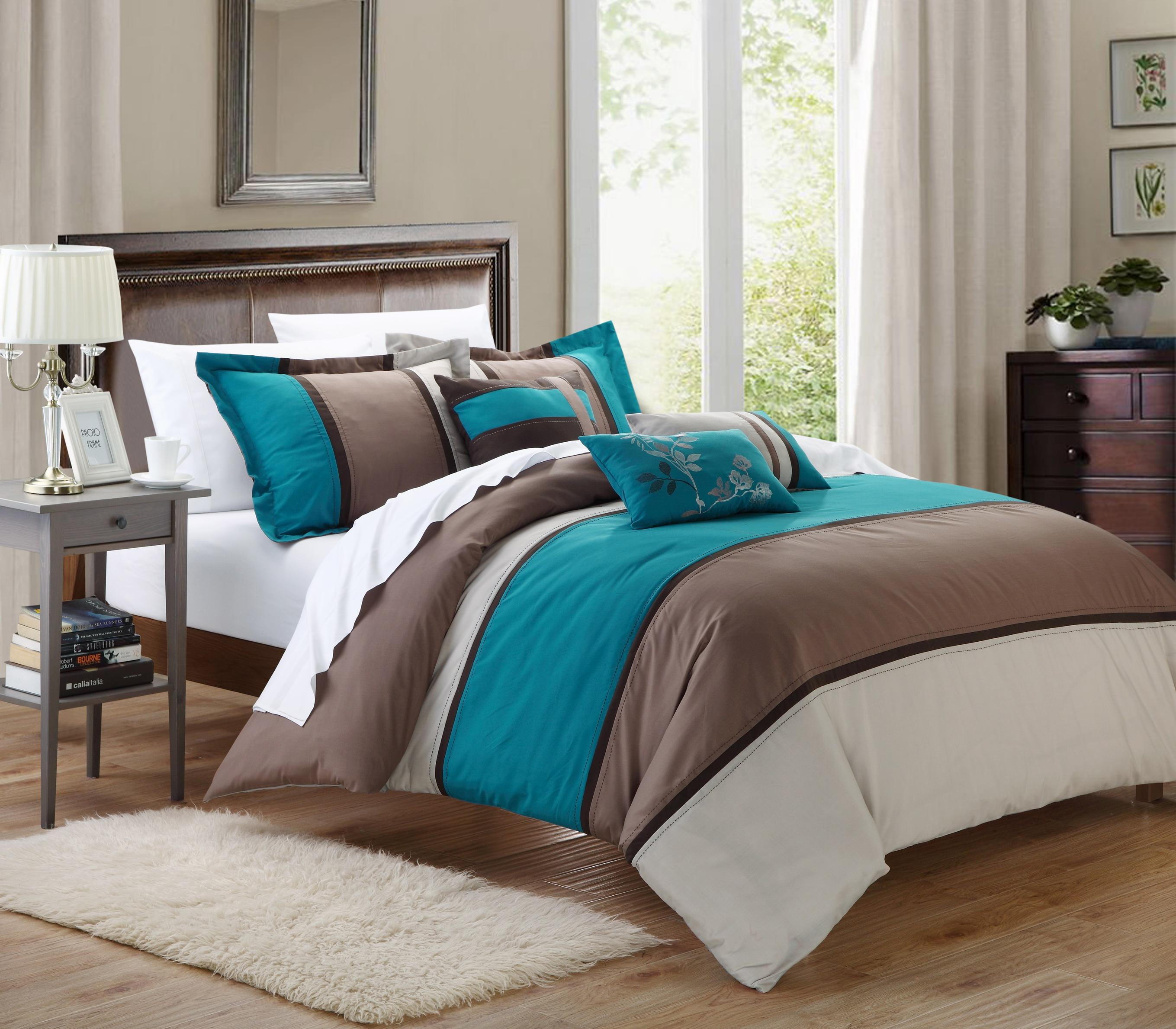 Chic Home Ballroom 11-piece Comforter Set King Size Teal