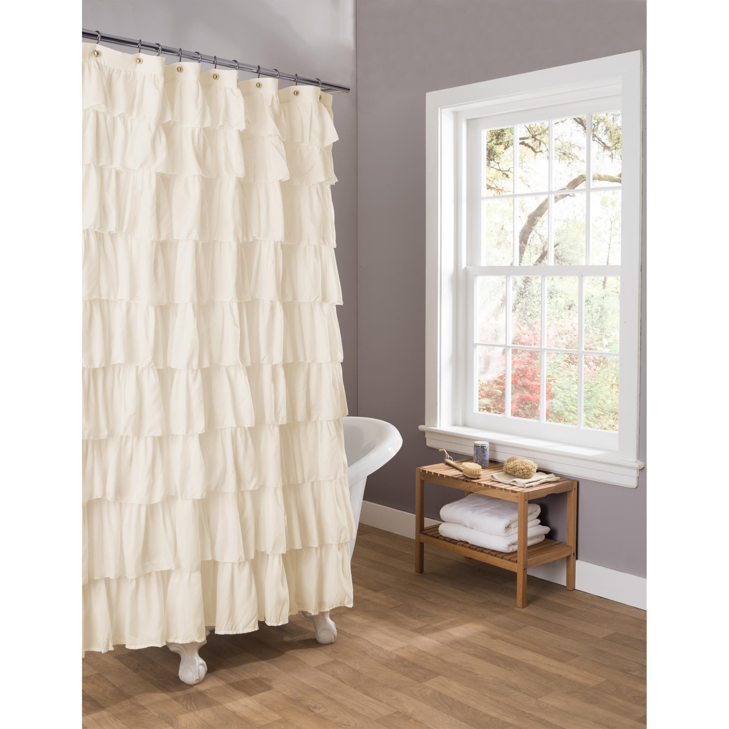 Lush Decor Ruffle Ivory Shower Curtain