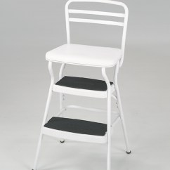 Chair Step Stool Twin Size Pull Out Bed Cosco Home And Office Products White Retro Counter