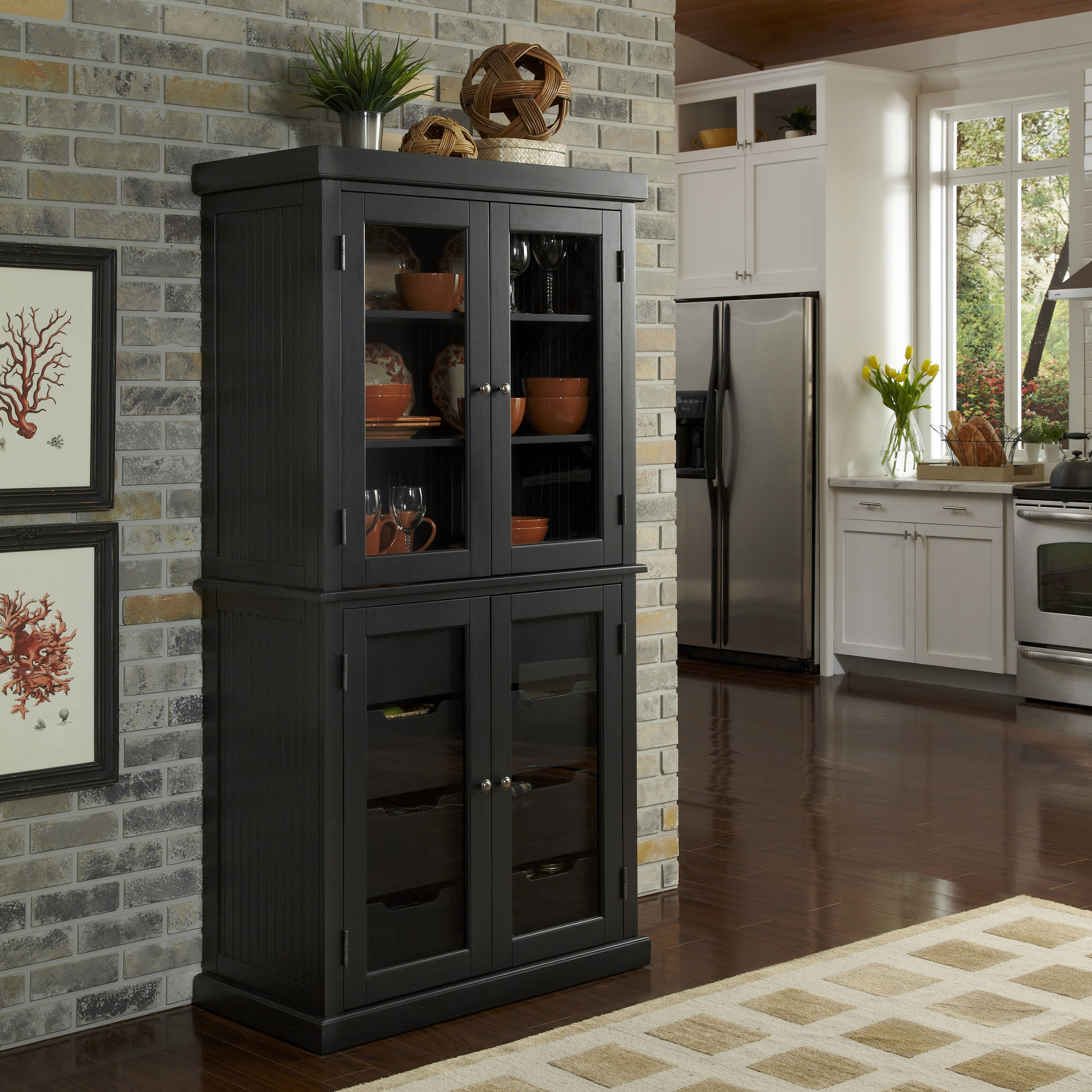 Pantry Cabinet Pantry Cabinet Storage with Retro Black