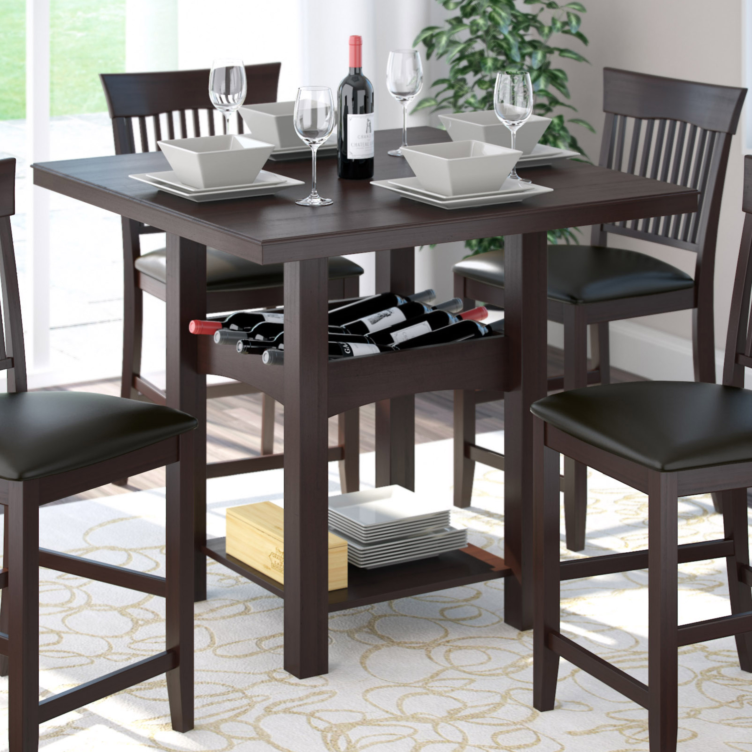 CorLiving Bistro 36 Counter Height Dark Cocoa Dining Table With Wine Rack Home Furniture